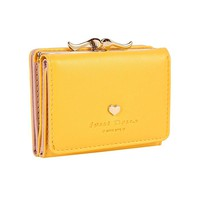 The Orient Bee Women's Mini Leather Wallet Kiss Lock Closure