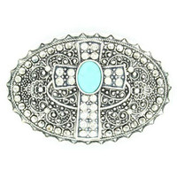 BELT BUCKLE OVAL WITH CRYSTAL CROSS AND TURQUOISE-Big Dee's Tack & Vet Supply