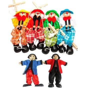 VONC1Y Marionette Hand Puppet Baby toys Pull String Puppet Clown Wooden Toy Joint Activity Doll Vintage Funny Traditions Classic Toy