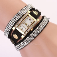 Women's Vintage Square Dial Rhinestone Weave Wrap Multilayer Leather Bracelet Wrist Watch Watches   AP = 1645840900