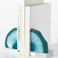 Regina-Andrew Design Teal Geode Bookends