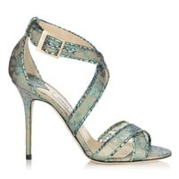 Aloe Mix Holographic Lace and Metallic Elaphe Sandals   Lottie   Spring Summer 15   JIMMY CHOO Shoes