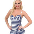 Vintage Style Pin-Up Navy & White Nautical Stripe Sweetheart Maillot Swimsuit
