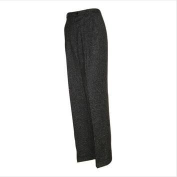 Vintage 80s RALPH LAUREN Charcoal Grey Tweed Cuffed Trouser Pants 8- Masculine Look