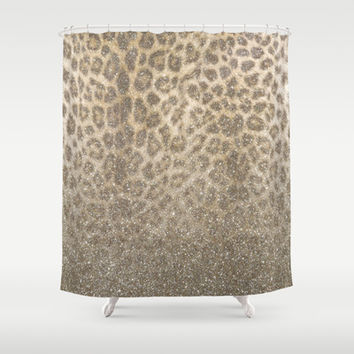Shimmer (Golden Leopard Glitter Abstract) Shower Curtain by soaring anchor designs ⚓ | Society6