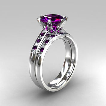 Engagement ring set, Amethyst engagement, white sapphire wedding ring, solitaire, curved wedding band, Purple, unique engagement, unique