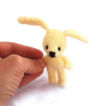 Easter miniature bunny, tiny bunny with red flower crocheted miniature rabbit amigurumi tiny bunny little bunny doll home decor light yellow