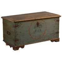 A Swedish Painted Marriage Chest dated 1823