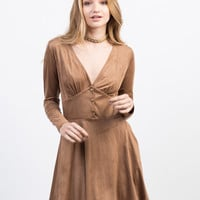 Suede Buttoned Dress - Small