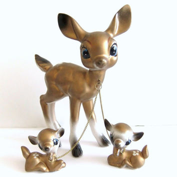 Vintage Deer Figurines, Mom and Chained Babies Leash, Bambi Deer Nursery Room Decor, Gold Christmas Deer Decorations