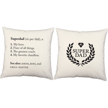 Set of 2 Super Dad Pillows - Hero Pillow Covers with or without Cushion Inserts - Father's Day, Gifts for Dad, New Father Gift, Dad Print
