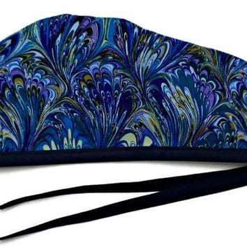 Men's Unlined Surgical Scrub Hat Cap in Oil Slick Blue