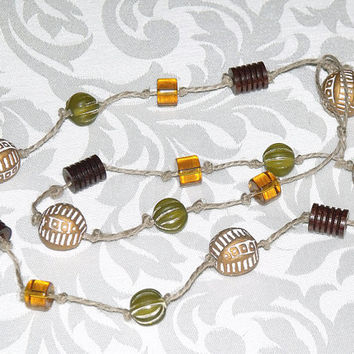 Mixed Bead Necklace on Knotted Hemp Cord - amber brown green tan