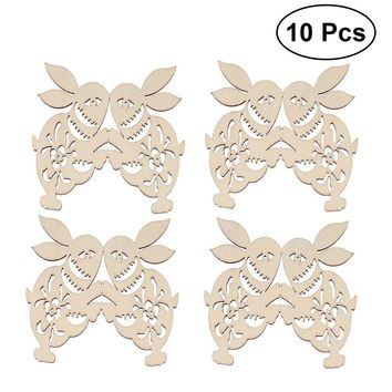 10PCS Easter Rabbit Unfinished Wood Cutouts Craft Tags Pendants with String Hanging Ornaments for Easter Decoration