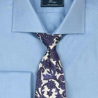 Men's plain blue twill cotton shirt with double cuff