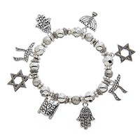 PammyJ Jewish Charm Star of David Menorah Stretch Bangle Bracelet