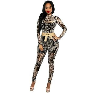 DCCKWQA Sexy Club Elegant Overalls 2017 New Long Sleeve Mesh Black tribal Printed Plus Size Women Bodycon Jumpsuits And Rompers