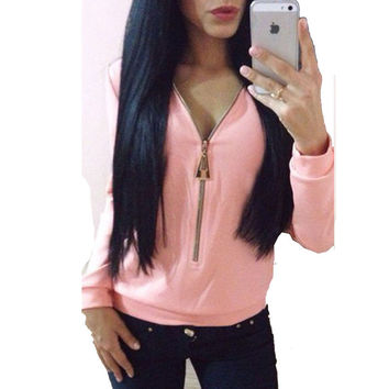 Women Lady Sexy Long Sleeve Loose Deep V-neck Zip Sweatshirts Hoodies