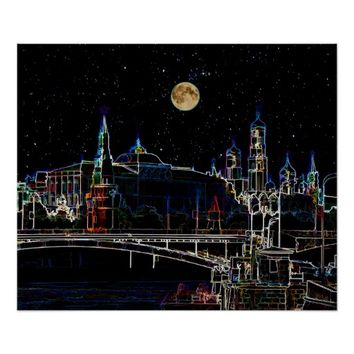 Moscow Kremlin Skyline At Night With Full Moon Poster