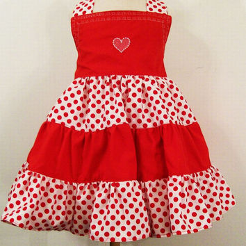 Girls Valentine 3 Tier Twirl Halter Dress-REd and White--Baby-Toddler--Tween girls---#601