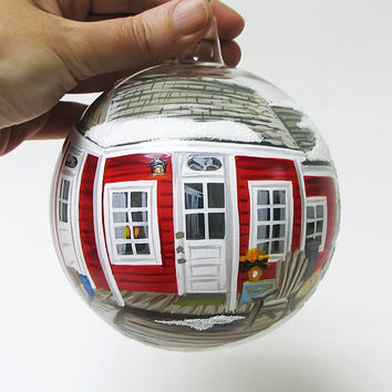 """4 2/3"""" Custom order Christmas glass ornament- Hand painted blown glass ball. The price depends on the difficulty of the painting."""