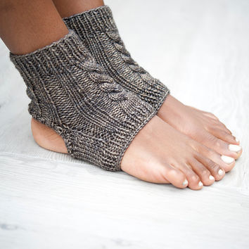 Yoga Socks, Ankle Socks, Knit Yoga Socks, Pedicure Socks, Knit Slipper Socks, Womens Slippers, Toeless Socks, Yoga Spats