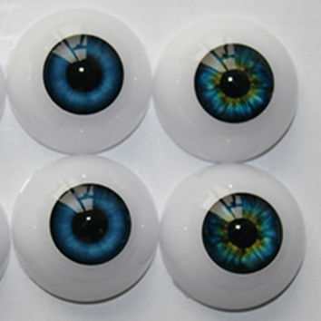 Free Shipping high quality half Round Acrylic Doll Eyes 20 mm fits 20 inch reborn baby kits Eyeballs colorful doll eyes
