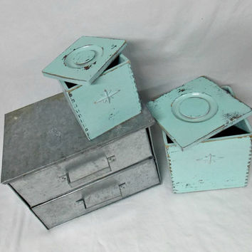 Rustic Mint Boxes - Shabby Chic - Rustic Box - Antique Wood Box - Rustic Kitchen - Shabby Kitchen - Gift for Her - Aqua - Farmhouse