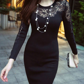 Black Lace Paneled Knit Dress