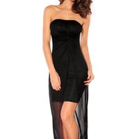 Strapless Mesh Overlay Slit Bodycon Maxi Dress