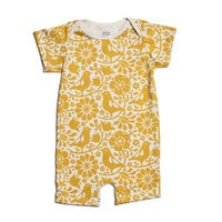 Organic Cotton Summer Romper - Yellow Birds and Flowers Print