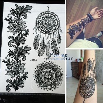 ac PEAPO2Q 1PC Hot Dreamcatcher Large Indian Sun Flower Henna Temporary Tattoo Black Mehndi Feather Style Waterproof Tattoo Sticker PBJ013A