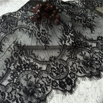 3M Longth Eyelash Lace Fabric Width 45CM Apparel Sewing Fabric High Quality Soft Eyelash Lace Trim Wedding Dress Fabric ELF-BW45