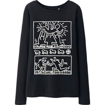 WOMEN SPRZ NY LONG SLEEVE GRAPHIC T-SHIRT (KEITH HARING) | UNIQLO