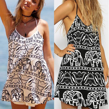 Womens Casual Loose Cotton Elephant Printed Mini Dress Gift 35
