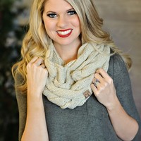 * Infinity C.C. Cable Knit Scarf - Tan