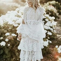 HIGH QUALITY New Fashion 2018 Designer Runway Dress Women Flare Sleeve Cascading Ruffles Lace Dress Party White Long Maxi Dress