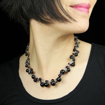 Black onyx chunky crocheted collar choker statement necklace bridesmaids gifts Free US Shipping handmade Anni designs