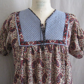 Vintage 70s HIPPIE Boho INDIA Cotton Maxi DRESS Block Print w.Quilted Satin Bodice  Bust 41""