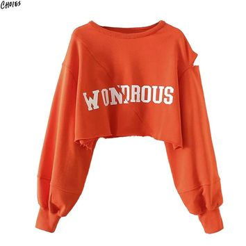Orange Letter Print Hollow Out Long Sleeve Cropped Sweatshirt Round Neck Ripped HemTop