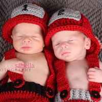 On Sale Red Fireman Hat, Firefighter Pants and Helmet, Suspender Pants, 0 to 3 Months, 3 to 6 Months, Photo Prop