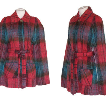 1970s Mod Cape Vintage 1980s Plaid Mohair Wrap S to M Free Domestic Shipping