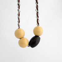 Chain necklace, wood jewelry, wooden bead necklace, brown asymmetric necklace, geometric jewelry, aluminum chain, long necklace, for women