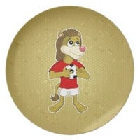 English lion cartoon Plate