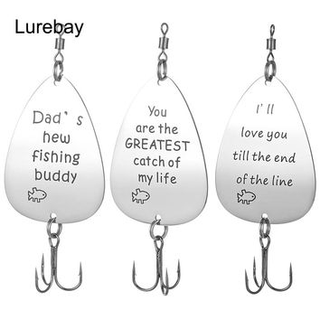 Lurebay 8.5g 8cm Custom Personalized Spoon Fishing Lure Spinner Bait Stainless Steel Fishing Wobbler Fisherman Date Gift 1piece