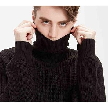 Men New Solid Sweater Pullovers Long Sleeve Turtleneck Sweater Men's Clothing Casual Black 100% Cotton Sweater
