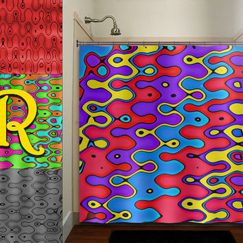 personalized colorful red gray blue yellow shower curtain bathroom decor fabric kids bath white black custom duvet cover rug mat window