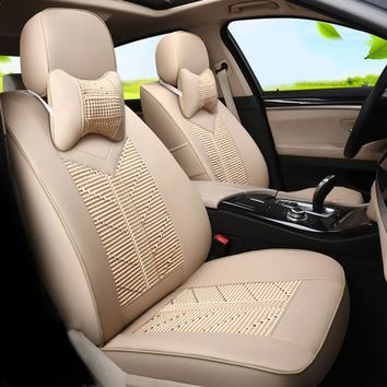 Car Styling Seat Protector Custom Fit for Toyota Sienna Car Seat Covers Interior Accessories Ice Silk&PU Leather Seats Supports