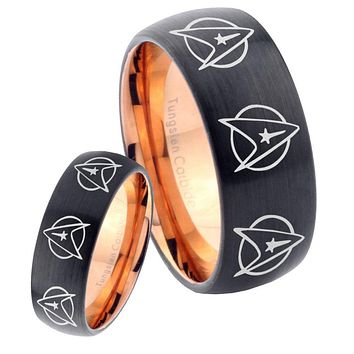 His Hers Multi Star Treks Dome Tungsten Rose Gold Mens Wedding Band Set