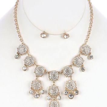Clear Pave Crystal Stone Bubble Style Bib Necklace And Earring Set